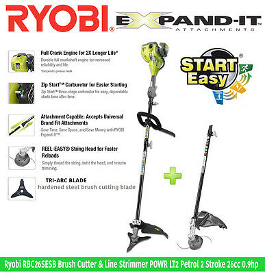 Ryobi RBC26SESB 0.9hp 2-Stroke Brush Cutter Petrol Line Trimmer Strimmer 26cc