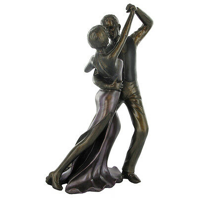 Ballroom Dancing Man / Lady Painted Cold Cast Bronze Sculpture / Figurine.New.