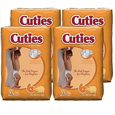 Cuties Baby Diapers, Size 6, 23-Count, Pack of 4