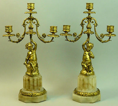 ANTIQUE PAIR OF 19th CENTURY FRENCH GILDED BRONZE FIGURAL CANDELABRA