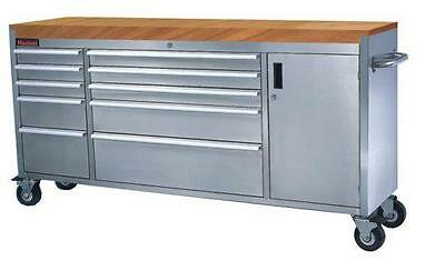 """72"""" Stainless Steel Tool Box Bench Chest Roll Cab Cupboard Large 10 Draws New"""