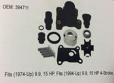 Johnson Evinrude Full Water Pump Repair Kit 9.9HP 15HP 394711 & Impeller 386084