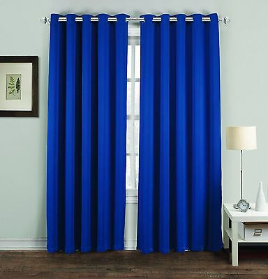 Blue Thermal Blackout Pair Curtains Ready Made Eyelet, Ring Top Curtain 66X72