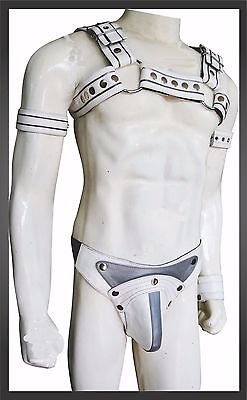 Mens Leather 'H' Bulldog HARNESS GAY Leather white gray adjustable straps new