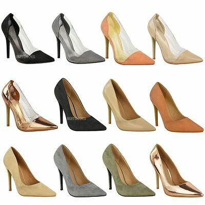21fc89e4e6 Womens Ladies Perspex Clear Stiletto High Heel Sandals Party Court Shoes  Size UK
