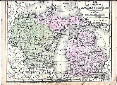1852 Map of MICHIGAN & WISCONSIN ~ MITCHELL