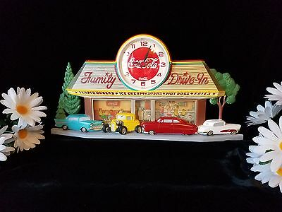VINTAGE Coca Cola Family Drive In Wall Clock 55 Chevy T-Bird Roadster WORKS