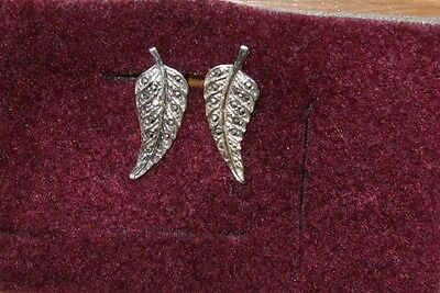 Pair Of Vintage Silver Tone Metal And Marcasite Ivy Leaf Clip On Earrings