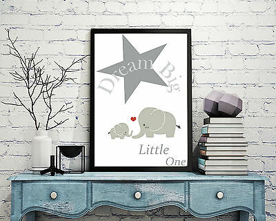 """Nursery print poster """"Dream Big"""" wall art home baby picture gift shower elephant"""