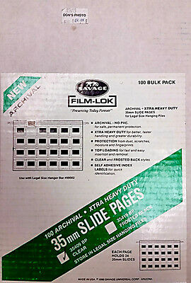 NEW 100 Savage 35mm Slide Pages, Film-Lok Archival Hanging File Legal Size 35409