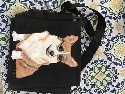 Corgi Dog Handpainted Canvas Shoulder Bag