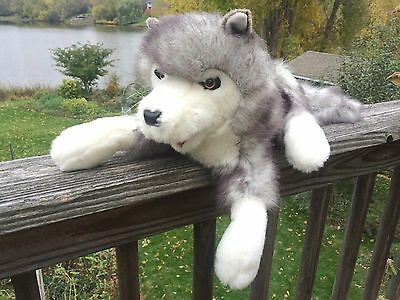 Folkmanis Timber Wolf Hand Puppet Gray White 16 In Long Plus Tail Daycare School