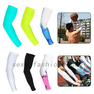 Summer Cycling Sunscreen Cool Ice Silk Arm Cuff Sleeves UV-protection Outdoor