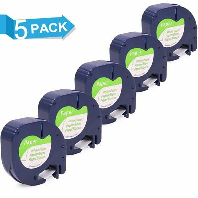 5pk Compatible for DYMO Letra Tag LT 91330 91220 White Paper Label Tape 12mm