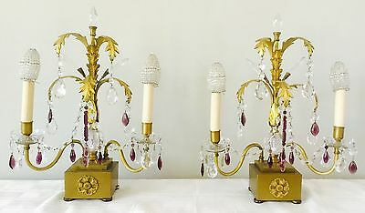 Antique Pair French Bronze Amethyst Crystal Girandoles Buffet Lamp Pair Beaded