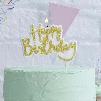 GINGER RAY Pick & Mix Sparkling Glitter Gold Happy Birthday Candle