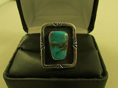 Vintage  Mexican  Turquoise  Ring  Size  10  Sterling