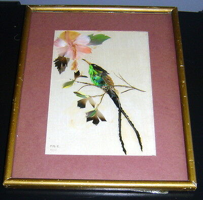 CHINESE FRAMED SILK with Bird design made from FEATHERS SIGNED RARE