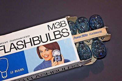 GE M3B Flashbulbs in Original Box of 12 Checked for any Air Leaks Great Shape!
