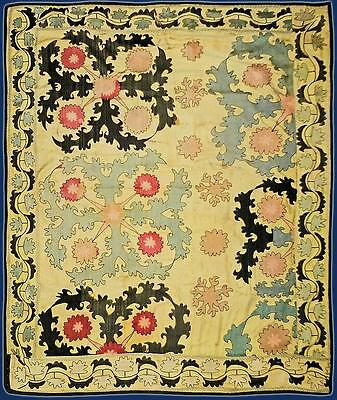 "Antique Uzbek Silk Hand-Embroidery Suzani ""shrubs"" From Samarkand T1026"