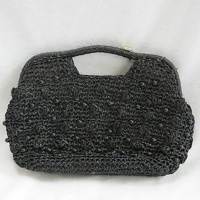 Vintage 1960s Black Straw Beaded Purse Clutch Handbag Made in Japan