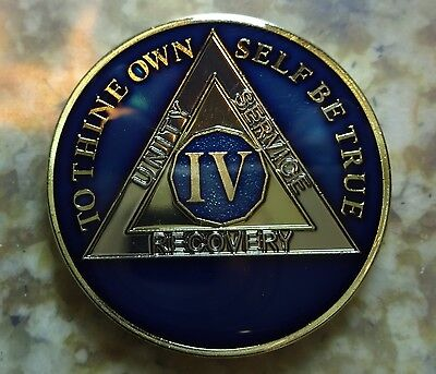 AA Blue Gold 4 Year Coin Tri-Plate Alcoholics Anonymous Medallion Sobriety Chip