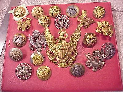 Big Lot Of Original Vintage Us Military Cap / Hat Badges Badge Pin