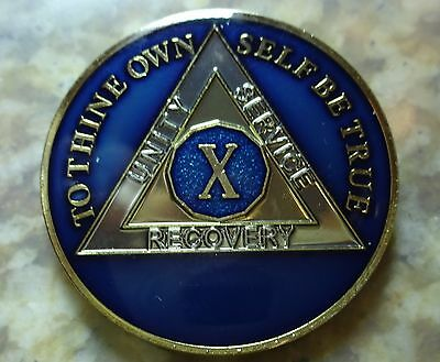AA Blue Gold 10 Year Coin Tri-Plate Alcoholics Anonymous Medallion Sobriety Chip