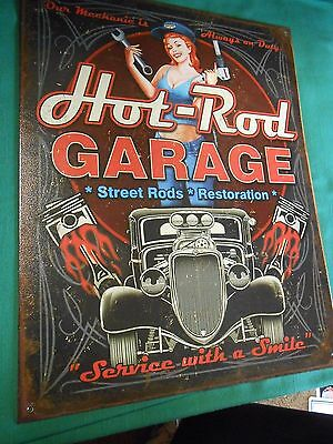 Tin Sign- HOT ROD GARAGE Street Rods Restoration... Service with a Smile