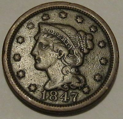 1847 Braided Hair Large Cent ** FINE + ** Late Date Early Copper