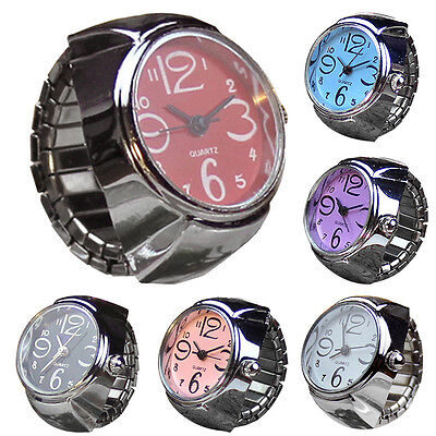 Women Dial Quartz Analog Finger Watch Creative Steel Men Cool Ring Elastic Watch