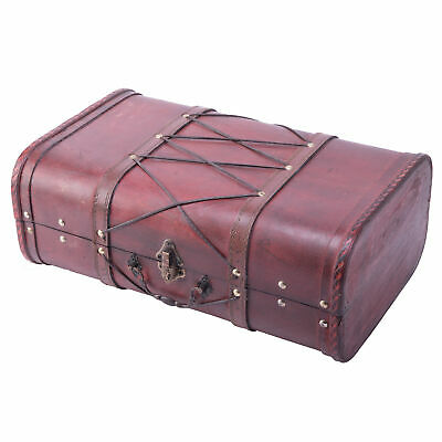 New Vintiquewise Antique Cherry Wooden Suitcase with Leather X Design, QI003234