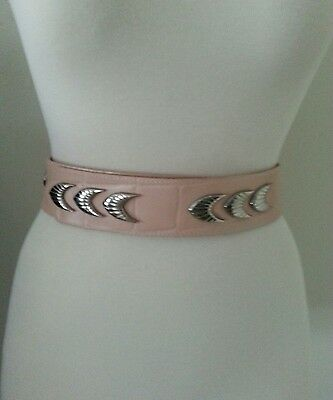 """Vintage Peach Croco Leather Adjustable Belt with Silvertone Fish  Size 36"""" x 2"""""""