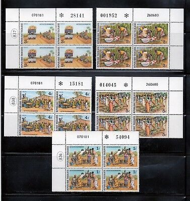 Togo Market Sc 1073-1077, MNH 5 x upper Blocks of 4, with Plate Number