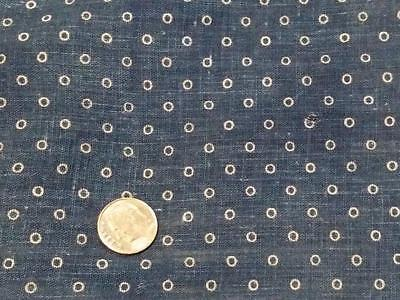 "Antique 19thc Fabric Indigo Blue Tiny Circles 9"" x9"""
