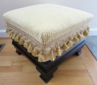 Big Mahogany Victorian Empire Stool Foot Upholstered 1860 Ottoman Chair Cushion