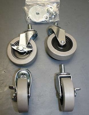 Quantum Swivel Stem Poly Casters w/Brakes for Wire Shelving (M/WR-3) SET of 4