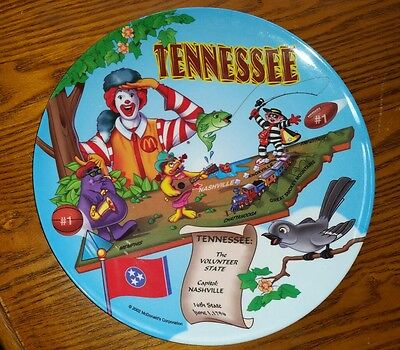 """McDonald's State Collector Plate """"Tennessee"""" 2002"""