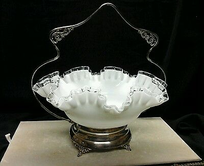 Antique  Brides Bridal Basket White Ruffled Fenton Bowl Silver Plated Holder