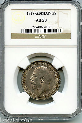 Great Britain 1917 Coin - One Florin NGC Certified AU 53 - King George V - KS255