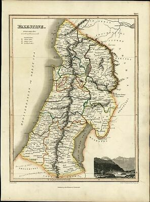 Palestine Israel Holy Land Bethlehem view 1819 antique Wyld Hewitt Thomson map
