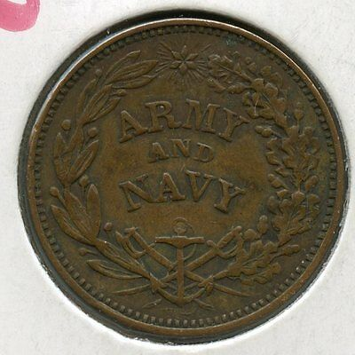 Civil War Token - Army & Navy Federal Union Must and Shall Be Preserved - JR177