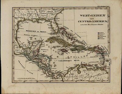West Indies Caribbean Cuba Bahamas Jamaica Haiti 1846 scarce antique Stieler map