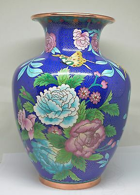 Beautiful Chinese Cloisonne Vase ~ Large ~ 10 Inches Tall ~ Stunning !