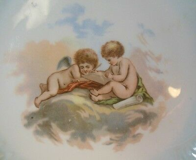 Antique Plate ANGELS PUTTI Cherubs Writing Drawing Clouds French Victorian