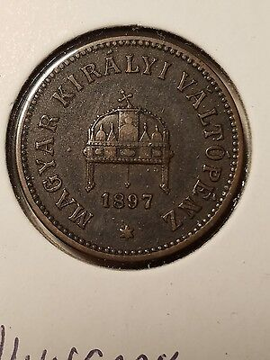 Lot Of 3 Hungary 2 Filler Coins -1897