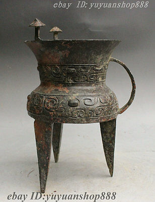 Rare Old China Palace Dynasty Bronze Antique lines Design 3 Foot Goblet Wine Cup