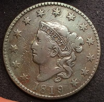 1819/8 N-1 R-1 Coronet Head Large Date Cent F+/VF - MAKE AN OFFER!