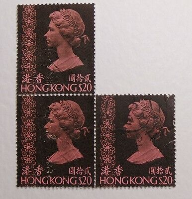 Postage Stamp Block 3 Hongkong Queen Elizabeth II Blackish Purple $20 1973 37