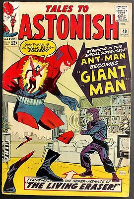 Tales To Astonish 1963 #49 Solid Vg+ Minor Key 1St Giant Man! Living Eraser
